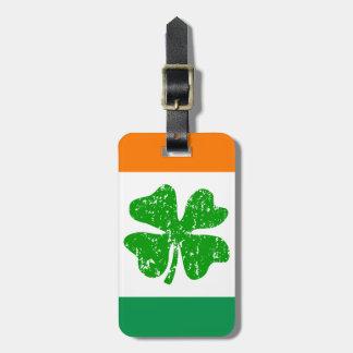 Green white orange shamrock luggage tag for travel