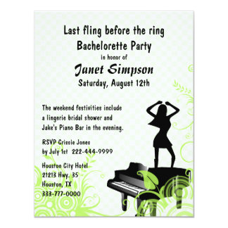 Green & White Piano Bar Bachelorette Party Card