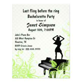 Green & White Piano Bar Bachelorette Party Custom Announcements