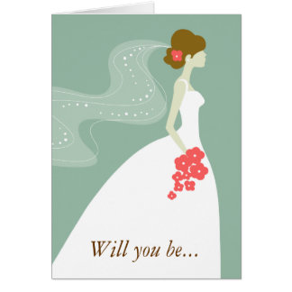 Green, White Pink Will You Be My Bridesmaid? Note Card
