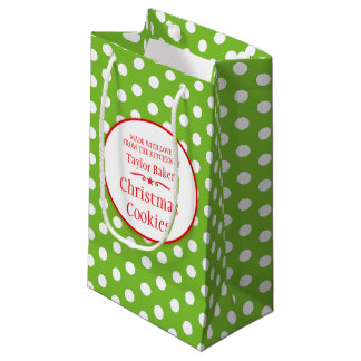 Green white polka dot cookie swap baking gift bags