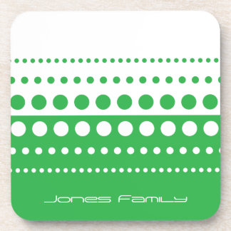 Green White Polka Dot Modern Pattern Drink Coaster