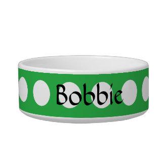 Green White Polka Dot Modern Pattern Pet Bowl