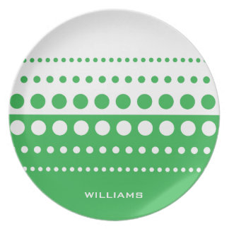 Green White Polka Dot Modern Pattern Plate