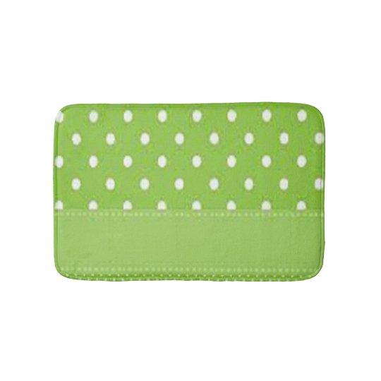 Green & White Polka Dots Bath Mat