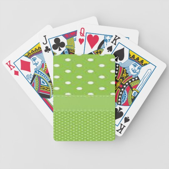 Green & White Polka Dots Bicycle Playing Cards