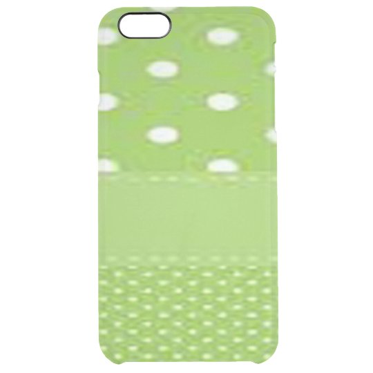 Green & White Polka Dots Clear iPhone 6 Plus Case