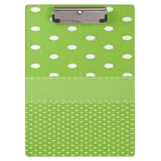 Green & White Polka Dots Clipboard