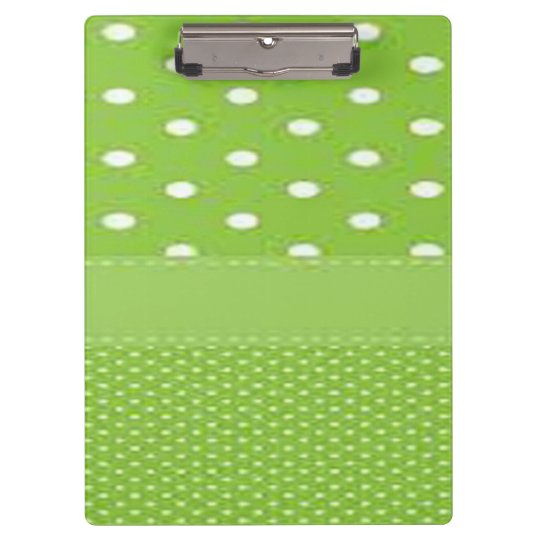 Green & White Polka Dots Clipboards