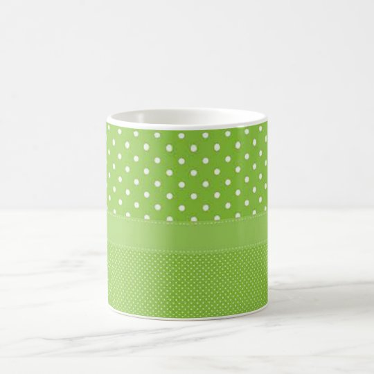 Green & White Polka Dots Coffee Mug