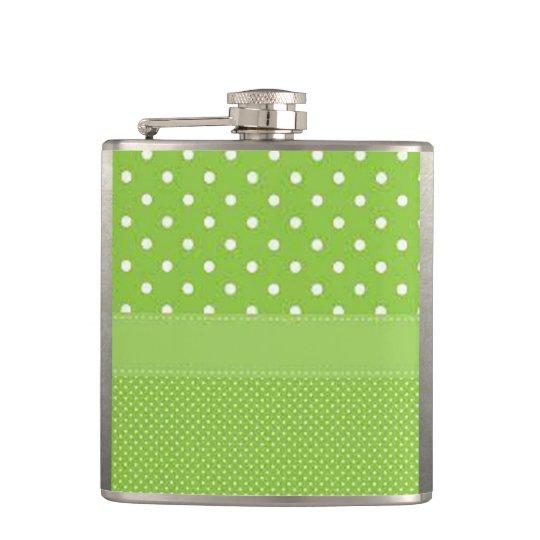 Green & White Polka Dots Flasks