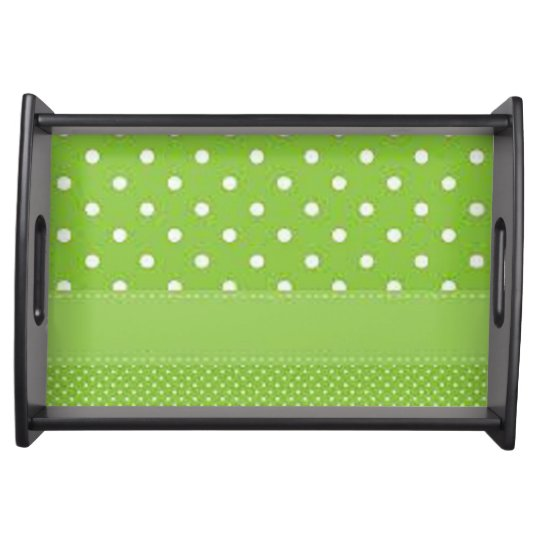 Green & White Polka Dots Food Trays
