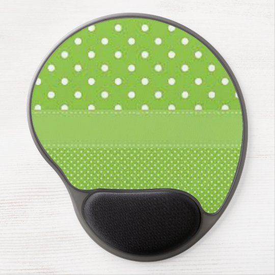 Green & White Polka Dots Gel Mouse Pad