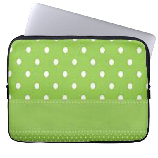 Green & White Polka Dots Laptop Sleeve