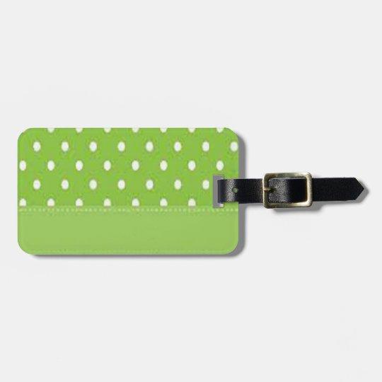 Green & White Polka Dots Luggage Tag
