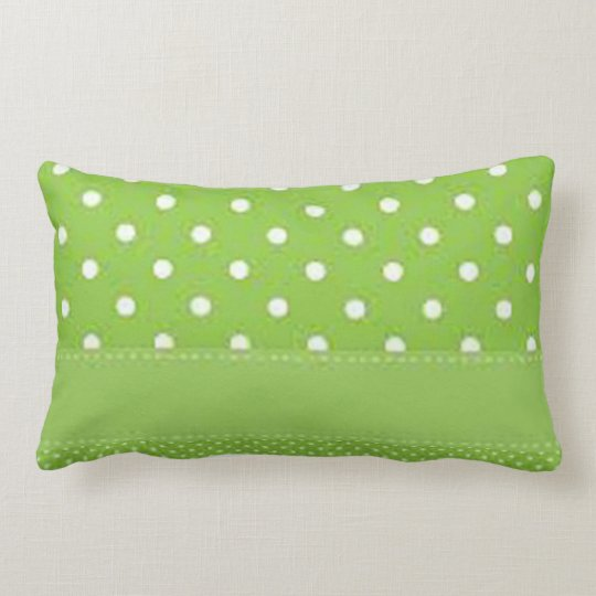 Green & White Polka Dots Lumbar Pillow
