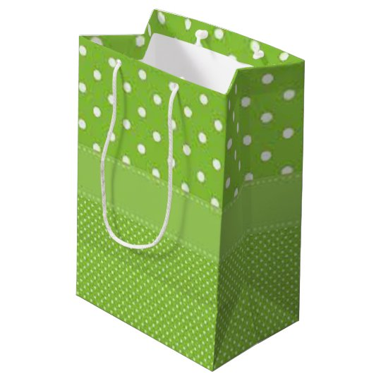 Green & White Polka Dots Medium Gift Bag