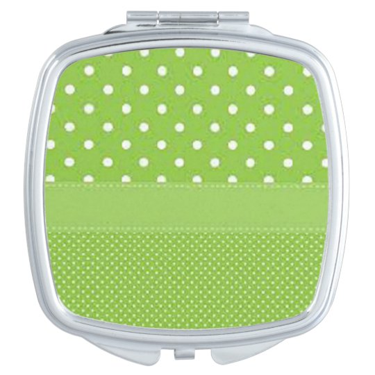 Green & White Polka Dots Mirror For Makeup