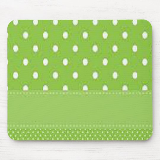 Green & White Polka Dots Mouse Pad