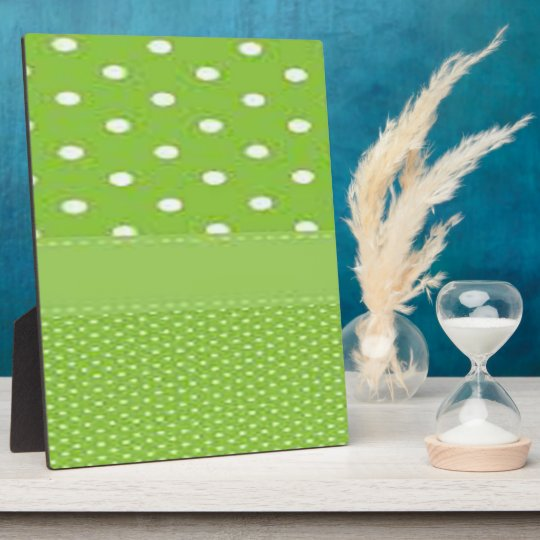 Green & White Polka Dots Plaque