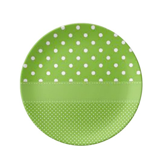 Green & White Polka Dots Plate