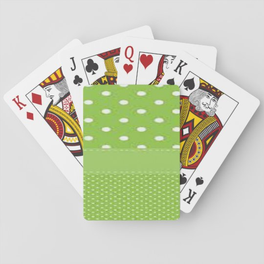 Green & White Polka Dots Playing Cards