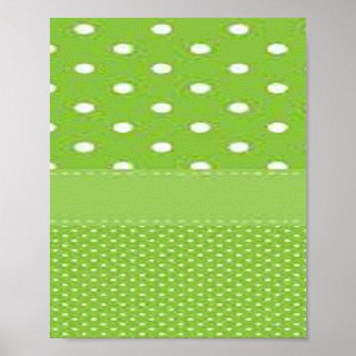 Green & White Polka Dots Poster