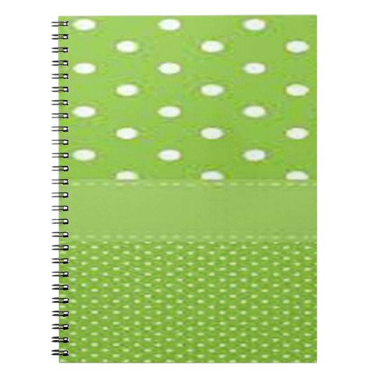 Green & White Polka Dots Spiral Notebook