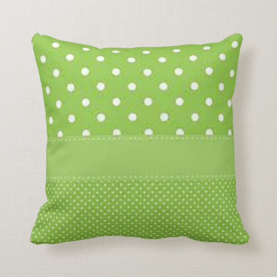 Green & White Polka Dots Throw Pillow
