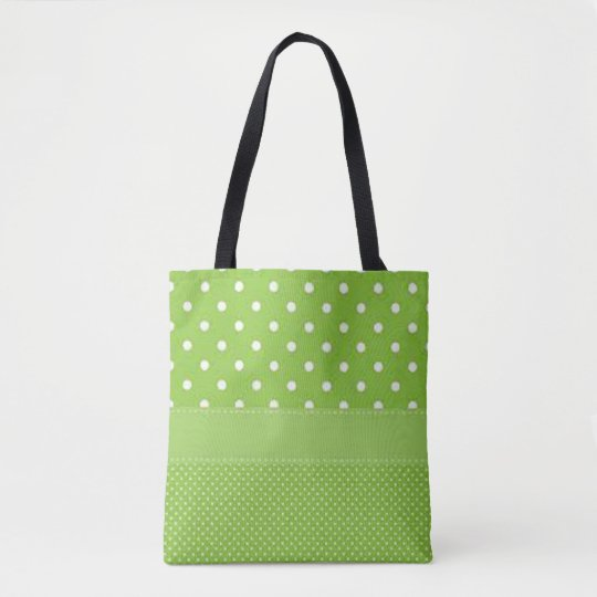 Green & White Polka Dots Tote Bag