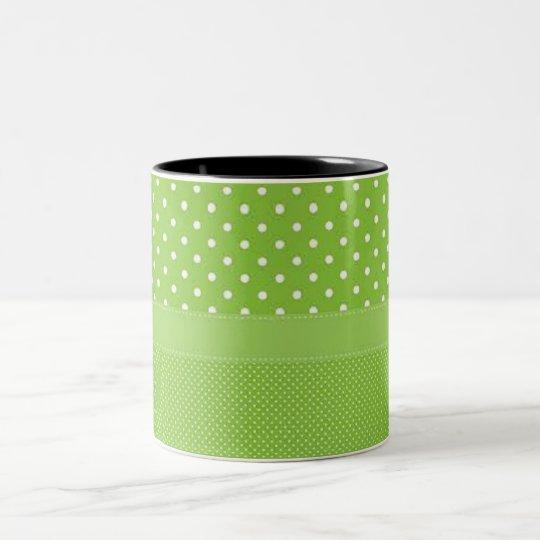 Green & White Polka Dots Two-Tone Coffee Mug