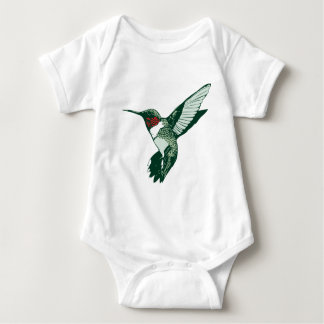 Green, White, Red Flapping Hummingbird Baby Bodysuit
