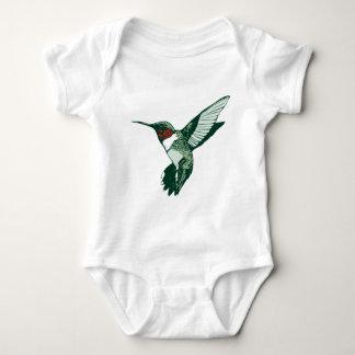 Green, White, Red Flapping Hummingbird Baby Bodysuit