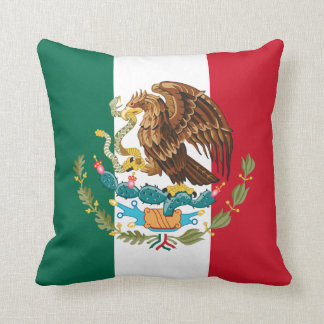 Green White & Red Mexican Flag & Coat of Arms Throw Pillow
