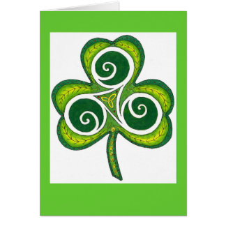 Green + White Shamrock Card