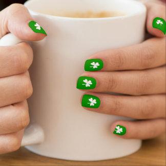 Green & White Shamrock Minx Nail Art