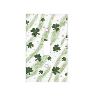 Green & white shamrock pattern light switch cover