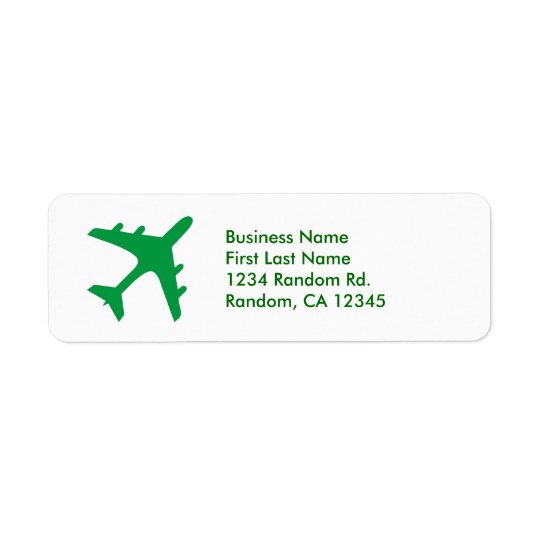Green white simple airplane return address labels