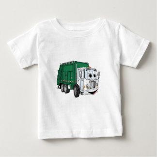Green White Smiling Garbage Truck Cartoon Baby T-Shirt
