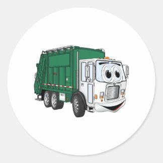 Green White Smiling Garbage Truck Cartoon Round Sticker