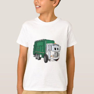 Green White Smiling Garbage Truck Cartoon T-Shirt