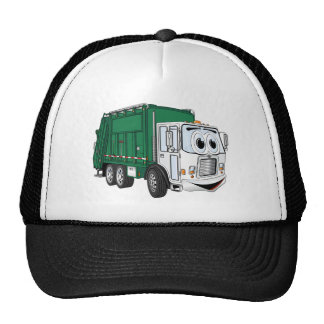 Green White Smiling Garbage Truck Cartoon Trucker Hat