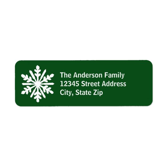 Green & White Snowflake - Address Label
