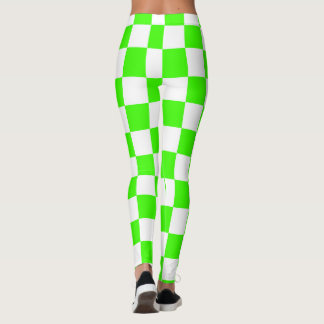 Green & White Squares abstract repeatable Leggings