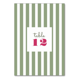 Green | White Stripe Wedding Table Number Card