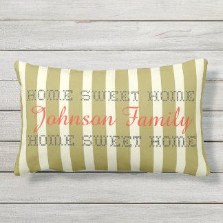 Green White Stripes Custom Name Outdoor Pillow