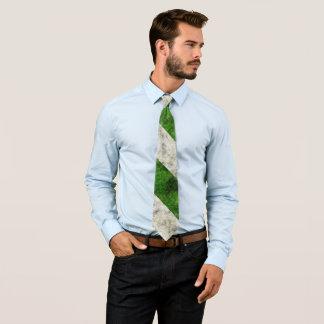 Green white stripes tie