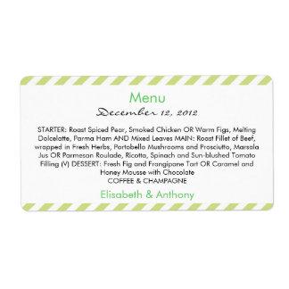 green & white stripes wedding menu shipping label