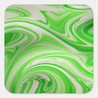 Green & white swirl square sticker