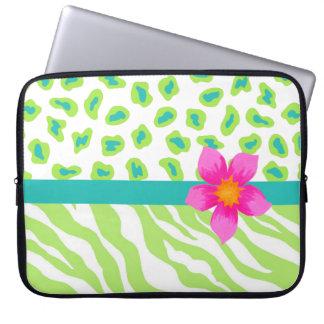 Green, White & Teal Zebra & Cheetah Orange Flower Computer Sleeves